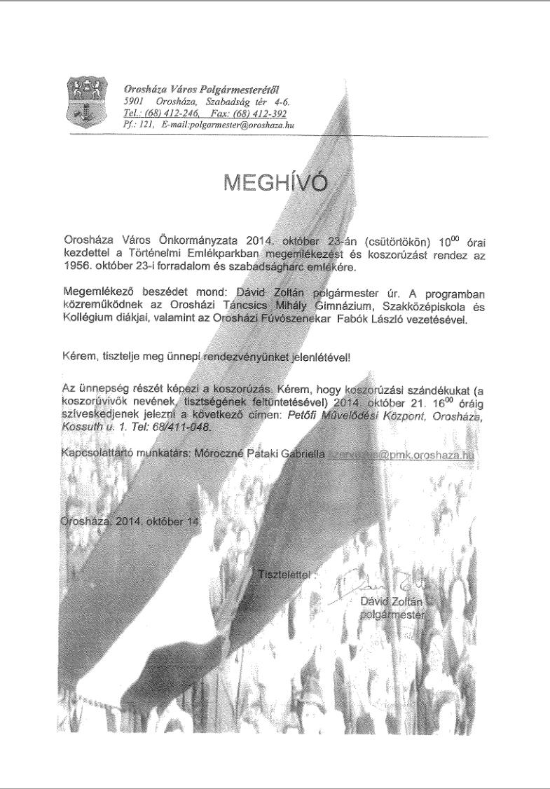 Koszorúzás 1956. október 23-i forradalom és szabadságharc emlékére