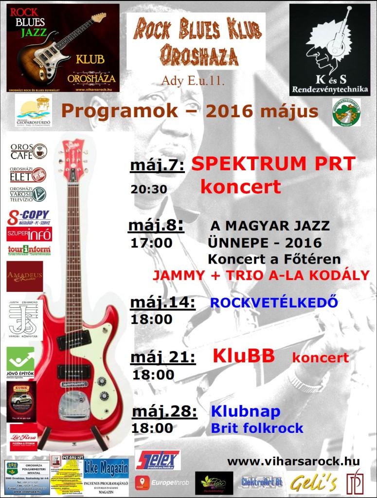 Az Orosházi Rock Klub májusi programjai
