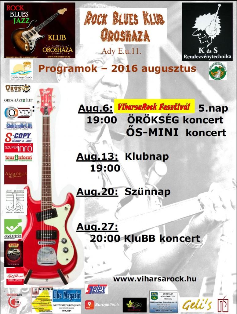 Orosházi rock Klub augusztusi programjai
