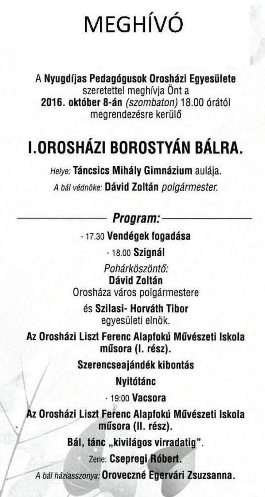 I. Orosházi Borostyán Bál