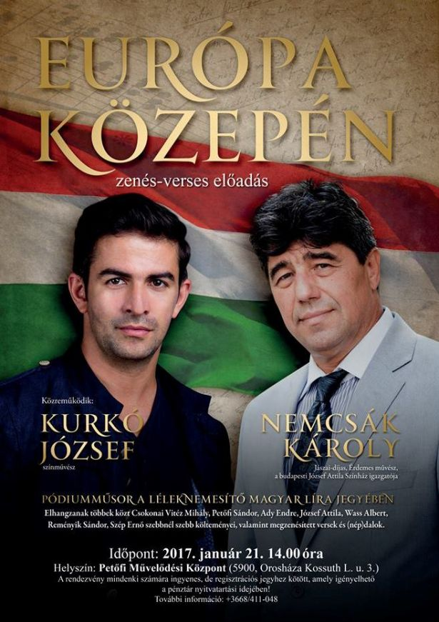 Európa Közepén című zenés-verses előadás a magyar kultúra napja alkalmából