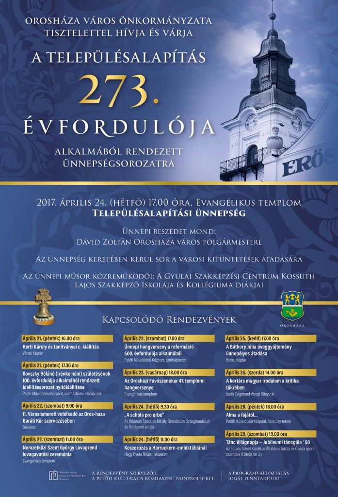 A településalapítás 273. évfordulójának programjai
