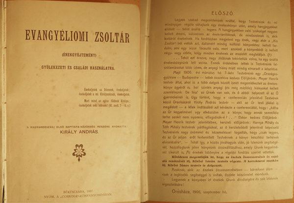 A Magyarországi Baptista Egyház első nyomtatott énekeskönyve